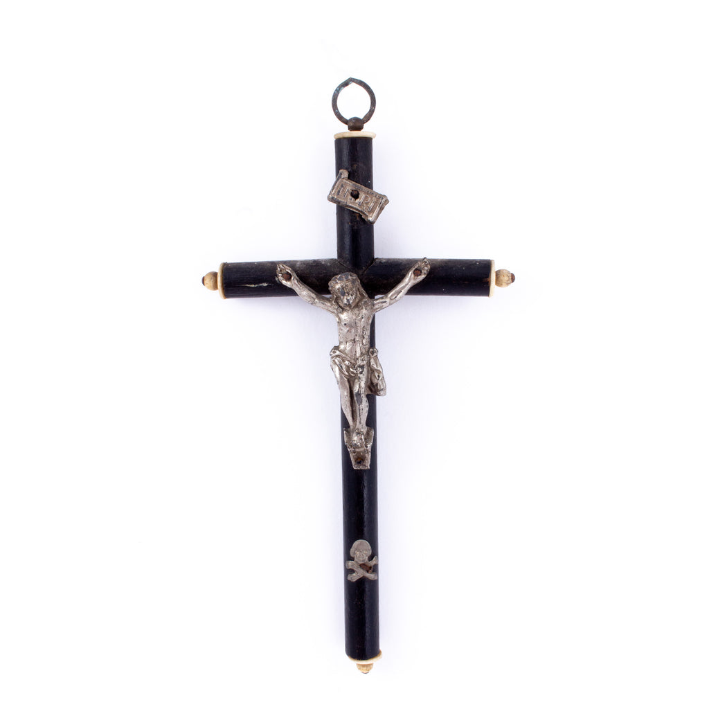 Antique French Wood & Metal Crucifix