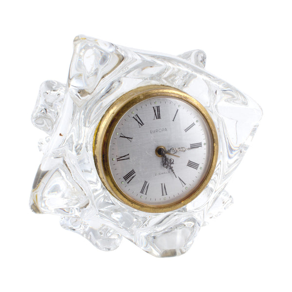 French Mid-Century Schneider Free Form Crystal Clock found in Paris