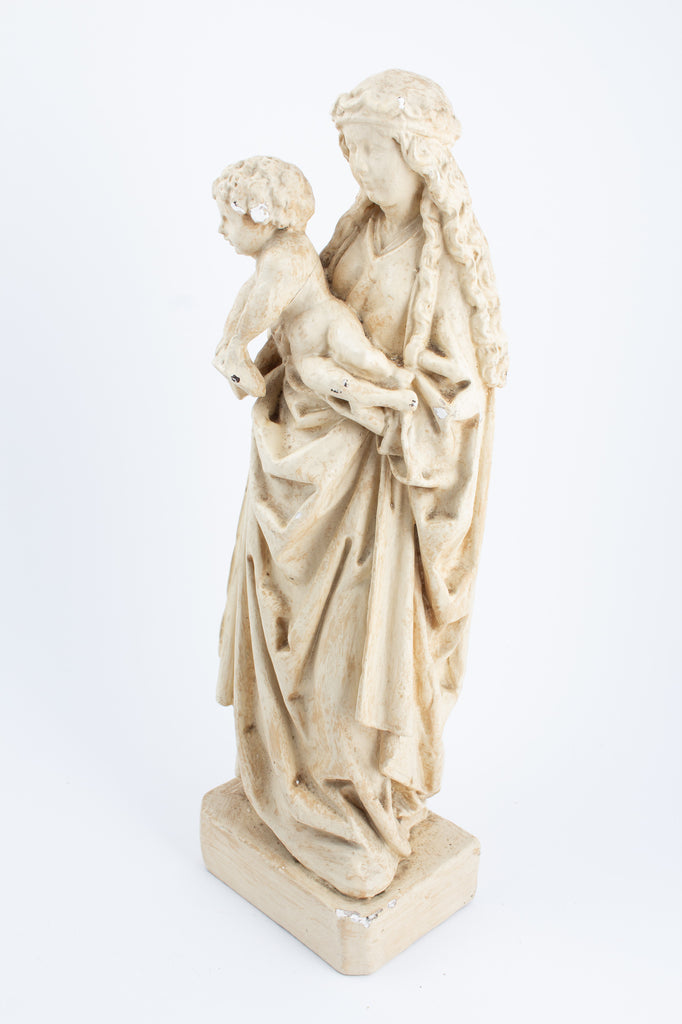 Antique French Plaster Holy Mother Statue