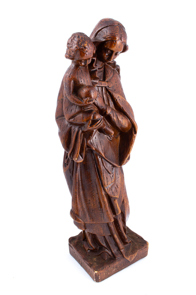 Vintage 1920s Belgian Earthenware Holy Mother Statue