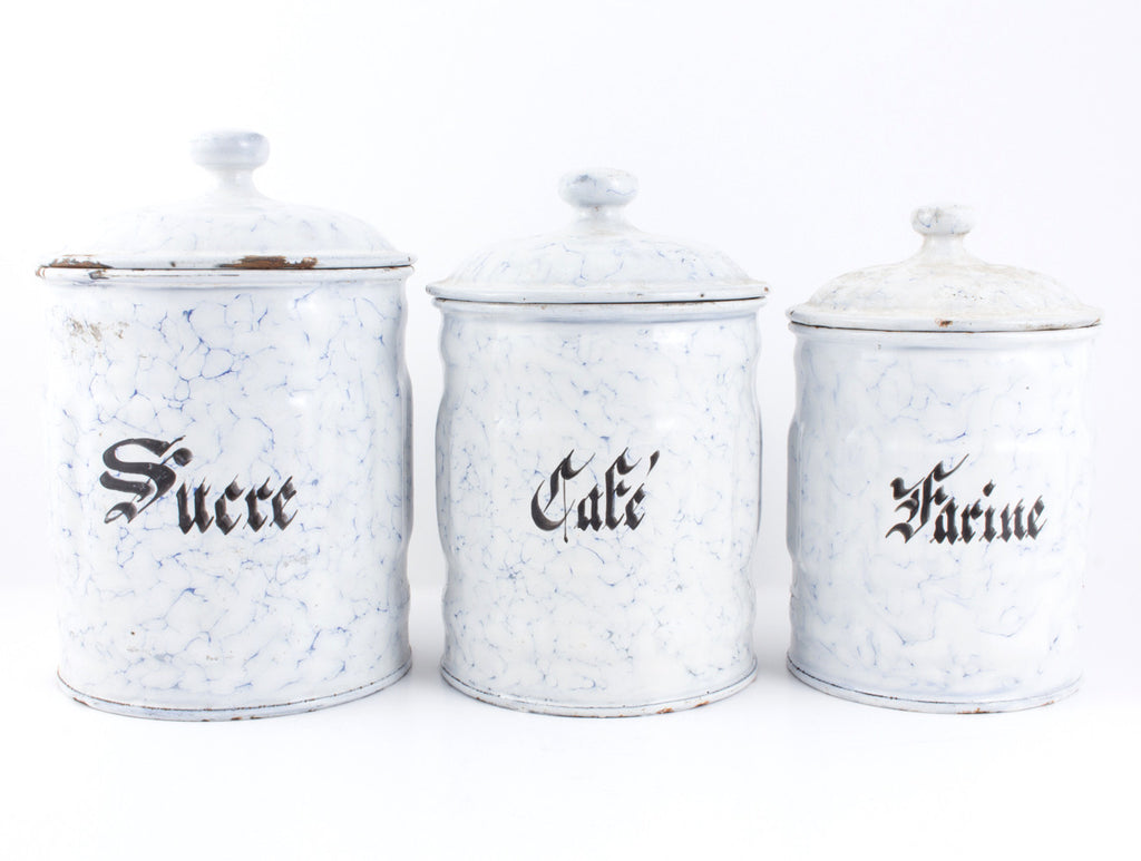 Set of Six Blue & White 1930s French Enamelware Canisters Found in France