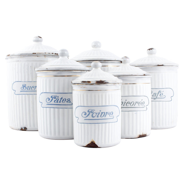 Set of Six 1930s French Enamelware Canisters Found in France