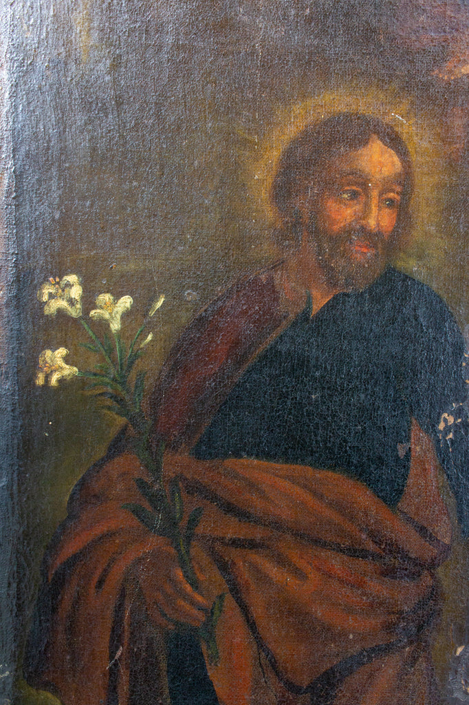 Antique French Religious Oil Painting - Unframed