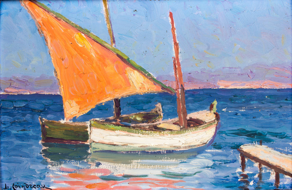 Small Antique Sailboat Painting found in France