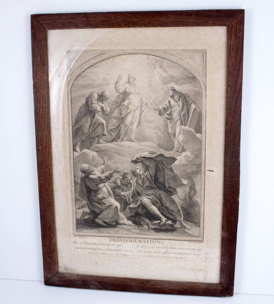 "Antique Religious ""Transfiguration"" Etching found in France ca. 1900"