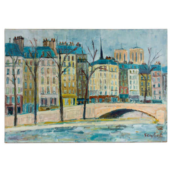 Vintage Parisian Painting found in France featuring Notre Dame