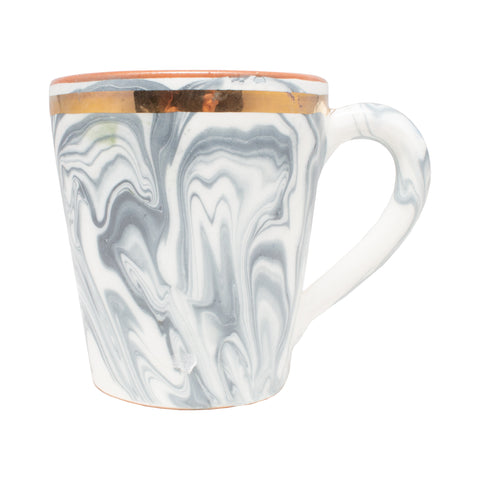 Handmade Marble Glazed Moroccan Handled Mug with 12K Gold