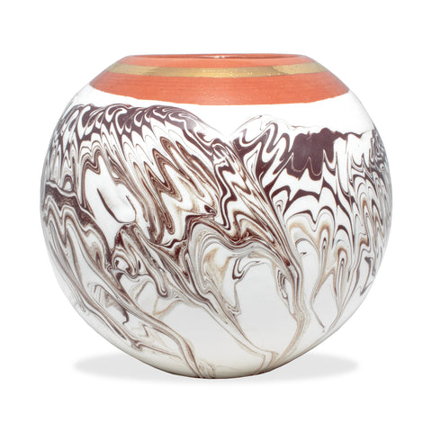 Handmade Marble Glazed Moroccan Ball Vase with 12K Gold