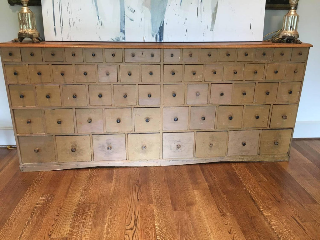 19th Century Painted Swedish Apothecary Bank of Drawers