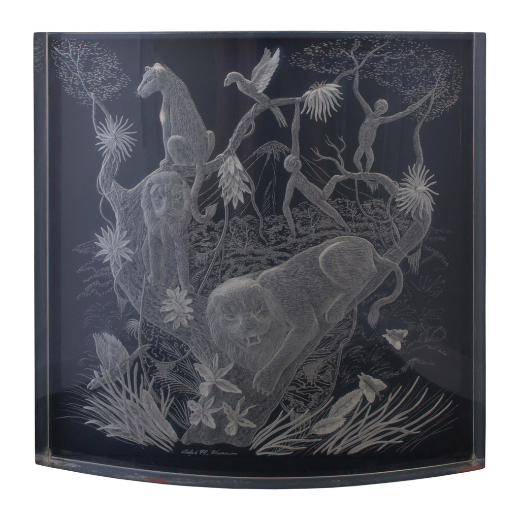Signed Mid-Century 1960s Clear Lucite Art Featuring Jungle Scene
