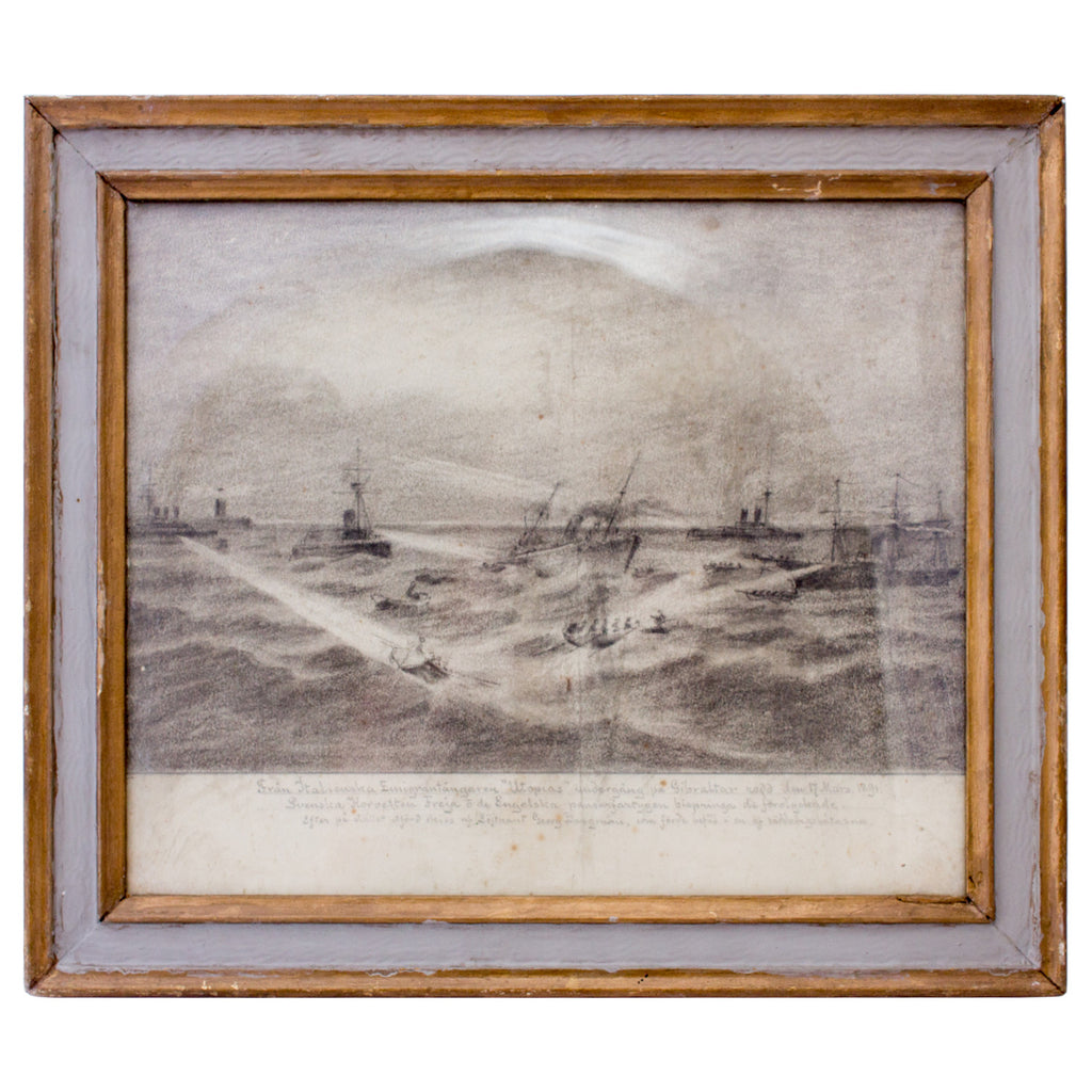 "Antique Framed Etching of 1891 Shipwreck of The ""Utopia"" found in France"