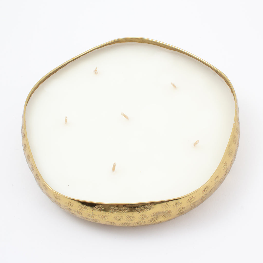 Handmade French White Suede Candle in Hammered Brass Bowl | Three Sizes