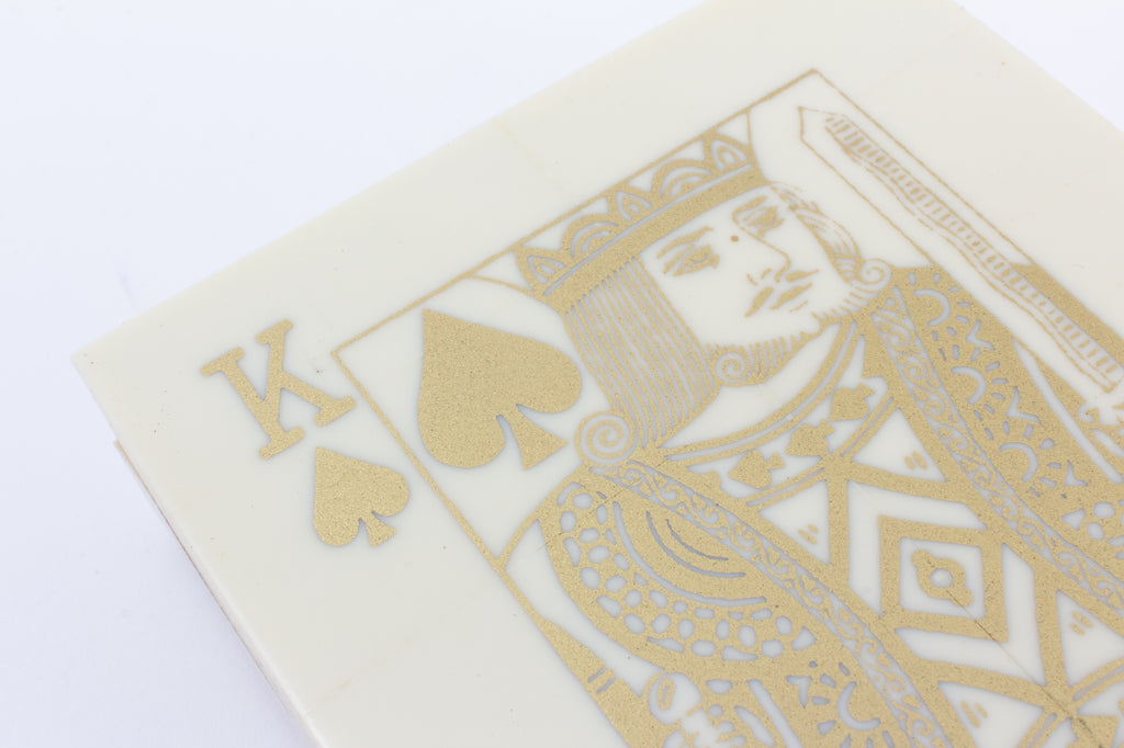 Luxe Inlaid Bone Playing Card Box with Playing Cards