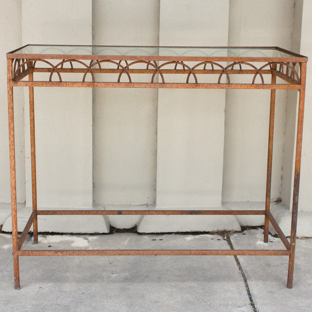Antique French Iron U0026 Glass Bar Height Console Table From A Parisian Flower  Shop