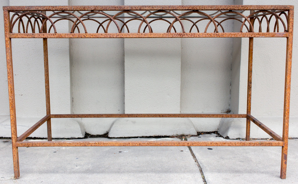 Pair of Antique French Iron & Glass Bar Tables from a Parisian Flower Shop