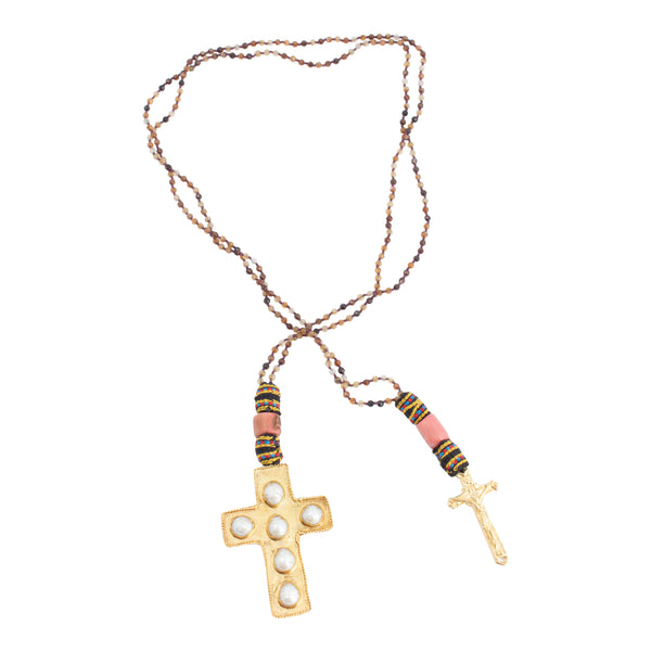 Handmade Black Agate, Coral & Pearl Cross Lariat Necklace from Istanbul