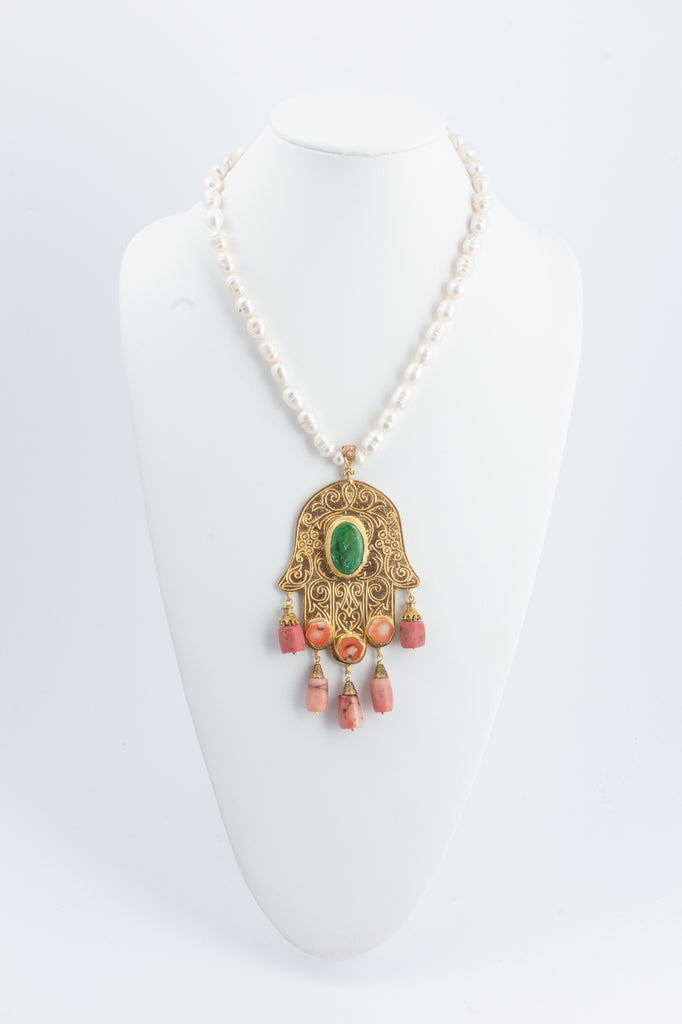 Handmade Pearl & Coral Hamsa Pendant Statement Necklace from Istanbul