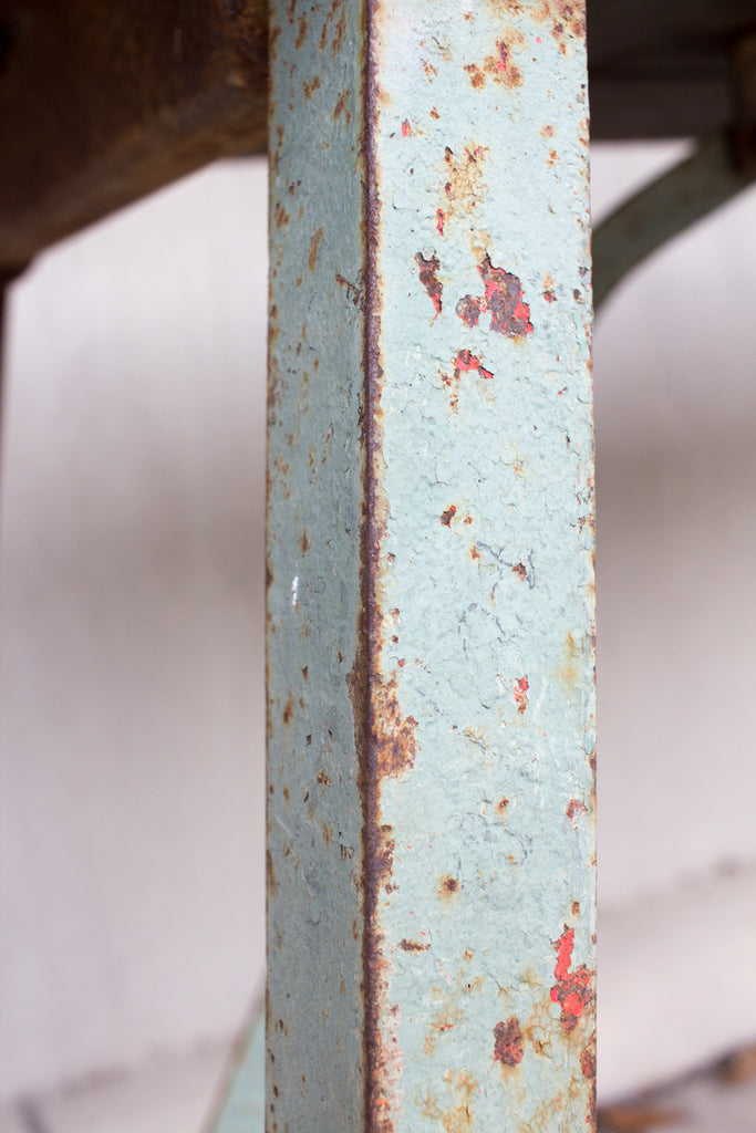 Antique Distressed Wood & Metal French Work Table