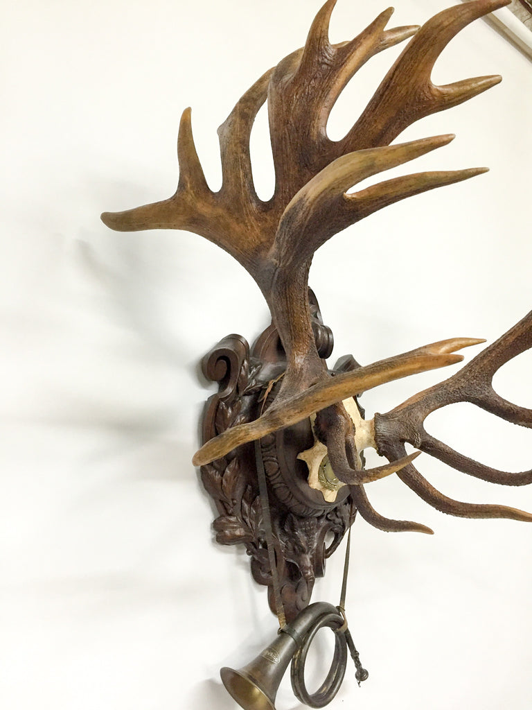 19th Century Red Stag on Black Forest Hessen Plaque from Kaiser Wilhelm II