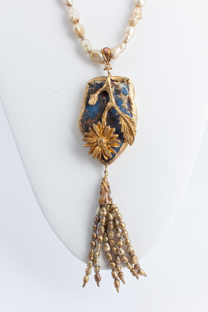 Handmade Pearl & Lapis Pendant Statement Necklace from Istanbul