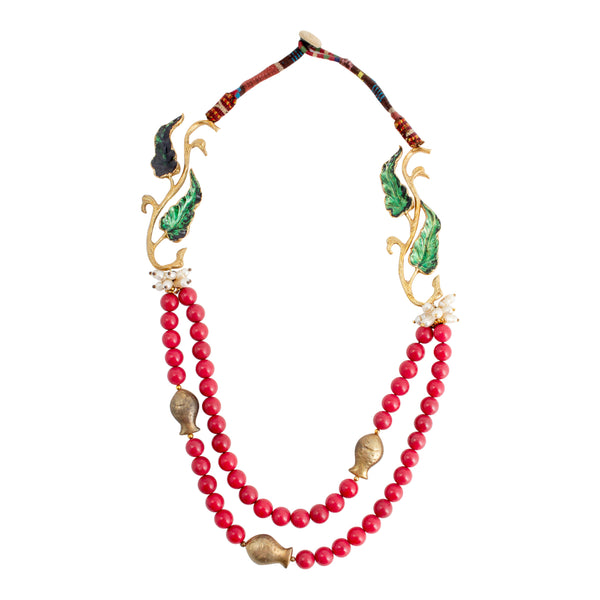 Handmade Coral Beaded Statement Necklace from Istanbul