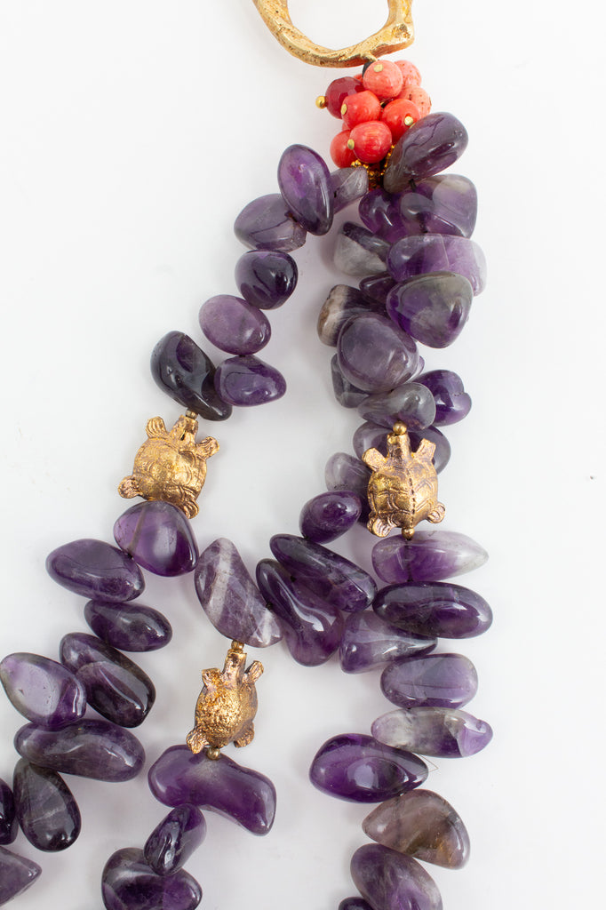 Handmade Amethyst & Tortoise Bead Statement Necklace from Istanbul