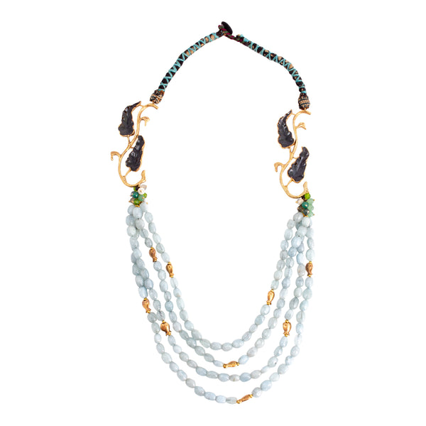 Handmade Aquamarine Beaded Statement Necklace from Istanbul