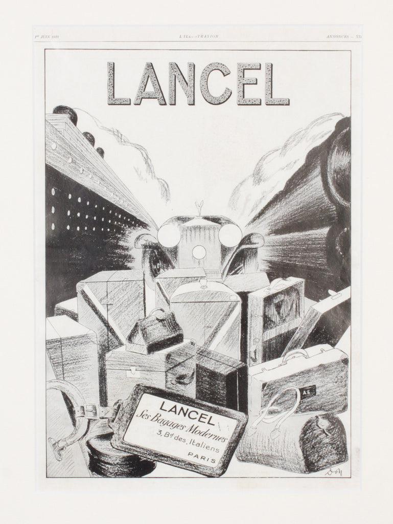 1930s Framed French Lancel Print Ad