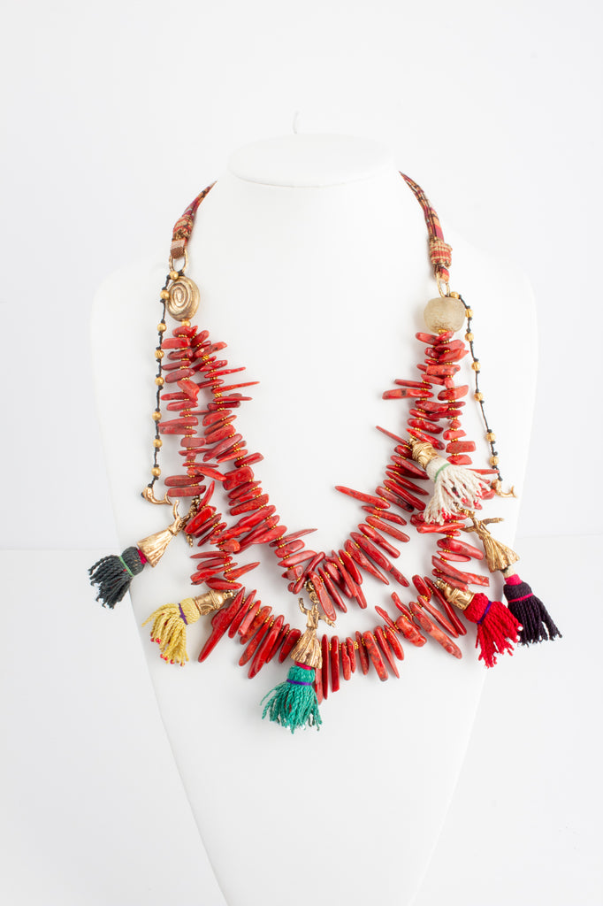 Handmade Coral & Tassels Statement Necklace from Istanbul