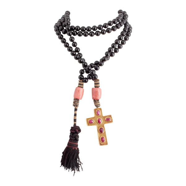 Handmade Black Agate, Coral & Ruby Cross Lariat Necklace from Istanbul