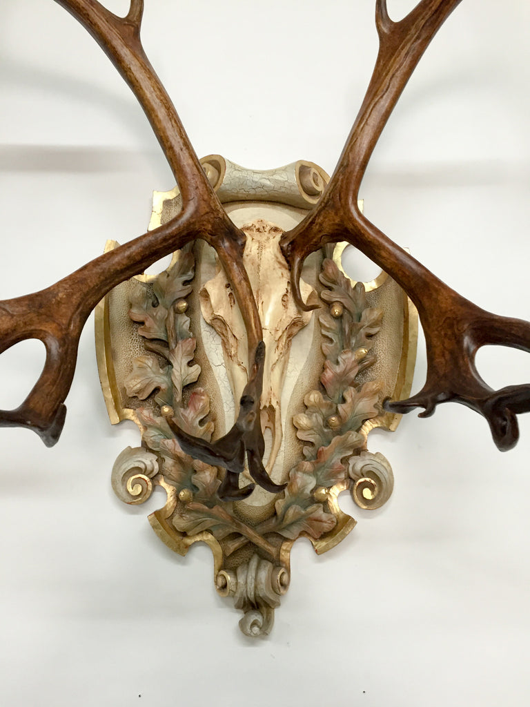 Vintage Arctic Caribou on Italian Hand-Carved Polychrome Plaque