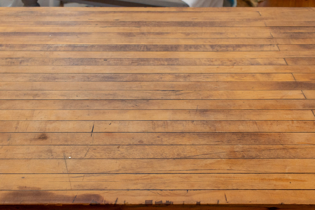 Midcentury Solid Wood Butcher Block Work Table with Storage