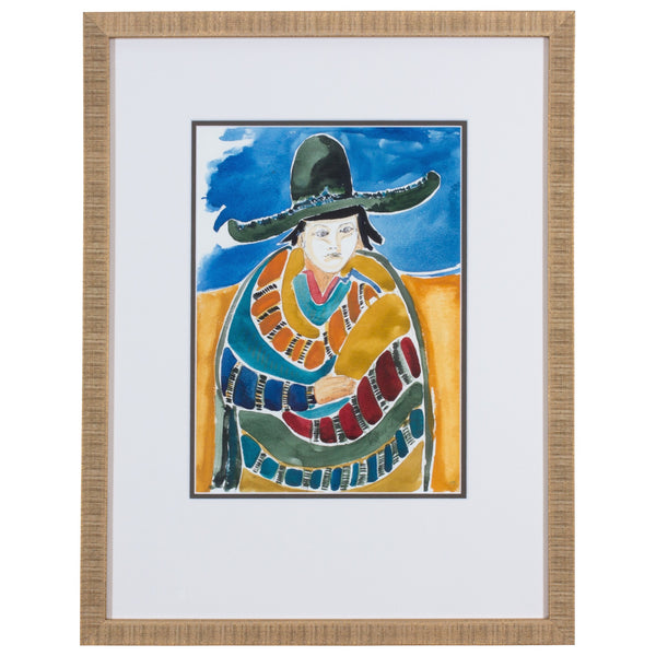 Signed Vintage Watercolor Featuring Figure wearing Colorful Poncho