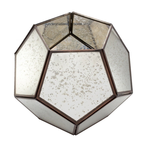 Belgian Geometric Lantern in Antiqued Glass