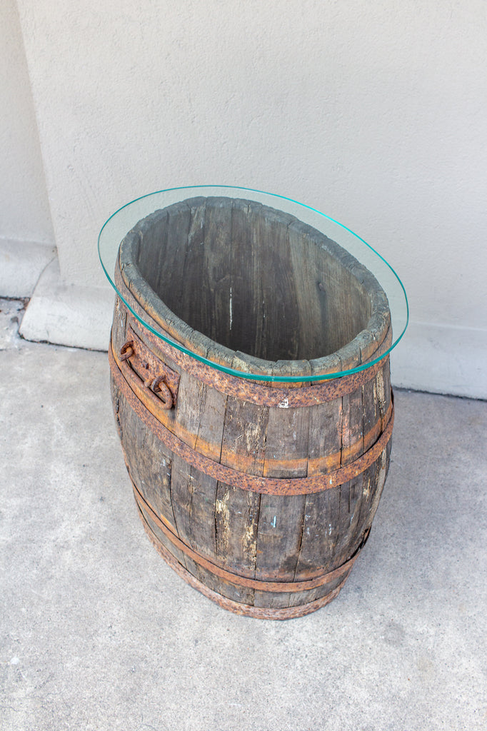 Antique French Wood and Iron Barrel Table with Glass Top
