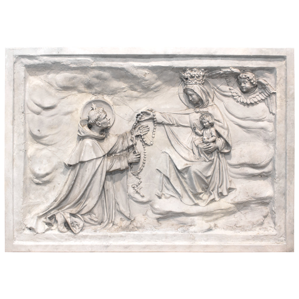 "Large 19th C Belgian Plaster ""Master"" Relief, Saint Dominic & The Rosary"