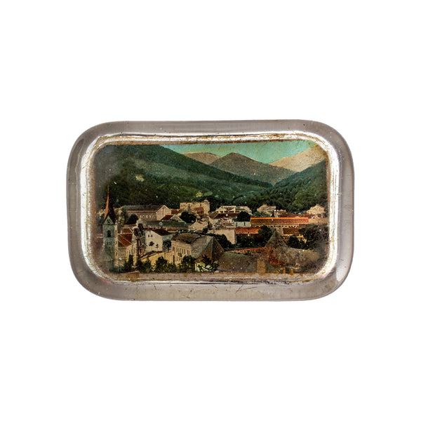 Vintage Italian Glass Paperweight with Landscape Image