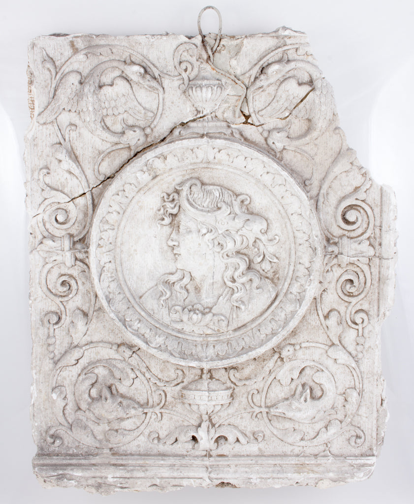 "19th Century Belgian Plaster ""Master"" Relief Fragment on Acrylic"