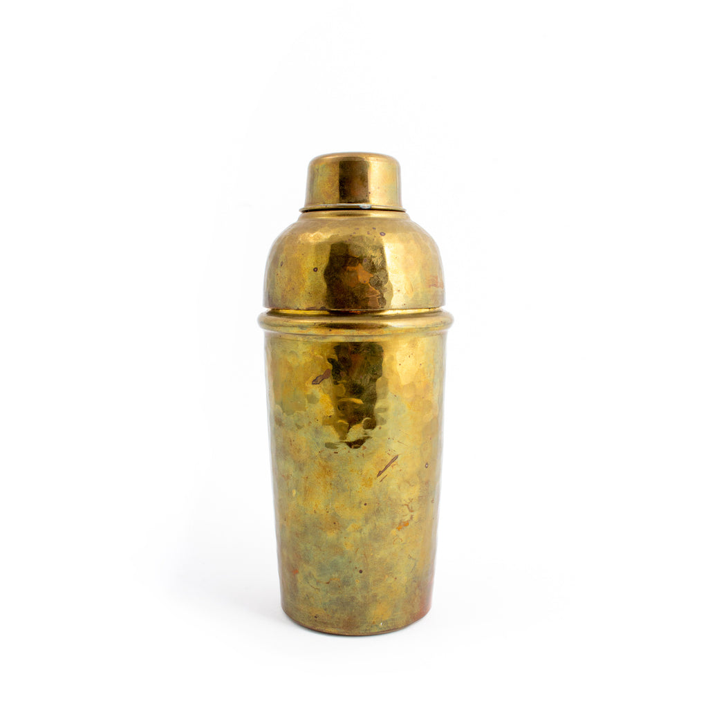 Mid-Century Italian Hammered Brass Cocktail Shaker
