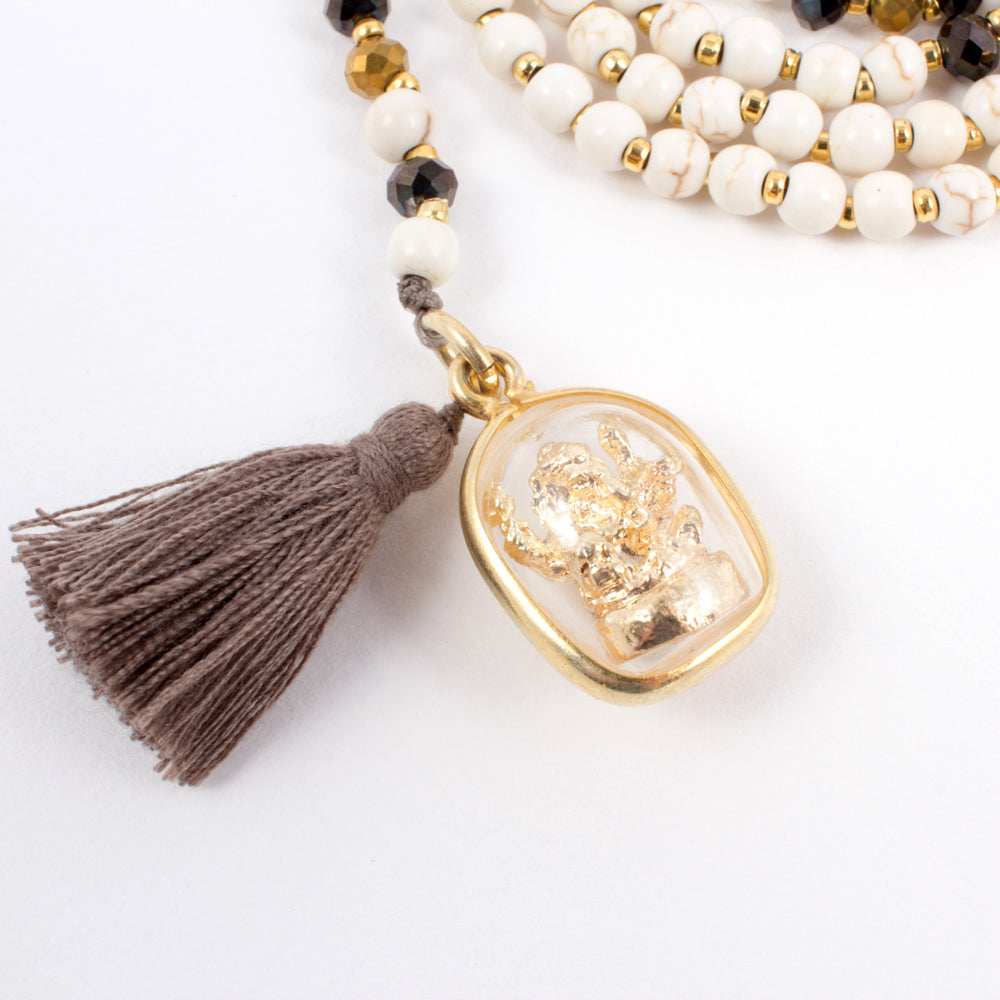 Mini Ganesh Charm Tassel Necklaces (Three Colors Available)