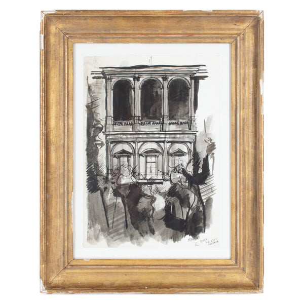 Vintage Italian Architectural Painting in Gilt Frame