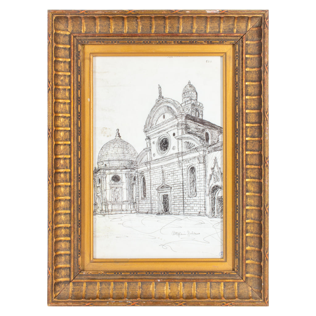 Vintage Italian Architectural Drawing in Gilt Frame