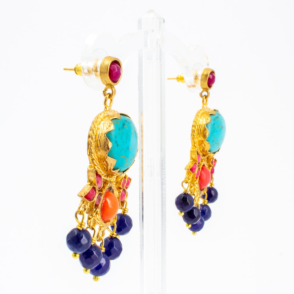 Handmade Turquoise & Coral Chandelier Earrings from Istanbul