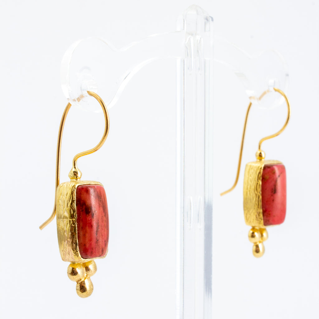 Handmade Coral Drop Earrings from Istanbul