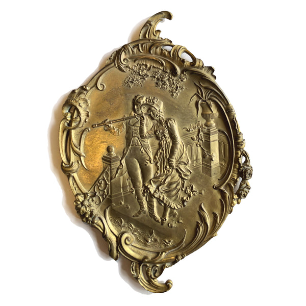 Antique Brass Fragment with Couple Using Telescope