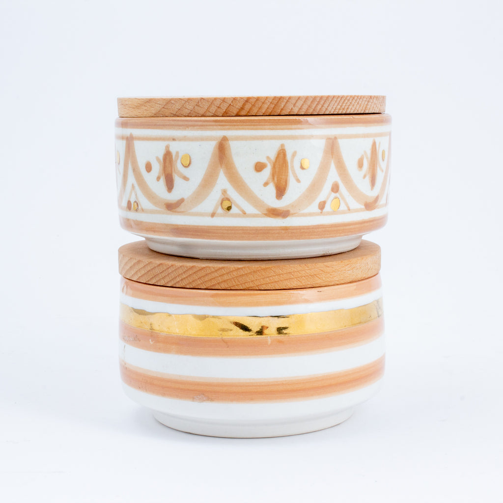 Handmade Nude Glazed Moroccan Ceramic Boxes with 12K Gold Accents