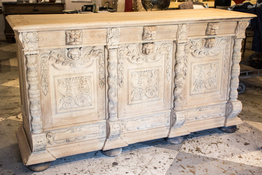 Large Antique French Oak Carved Sideboard from the Late 1800s