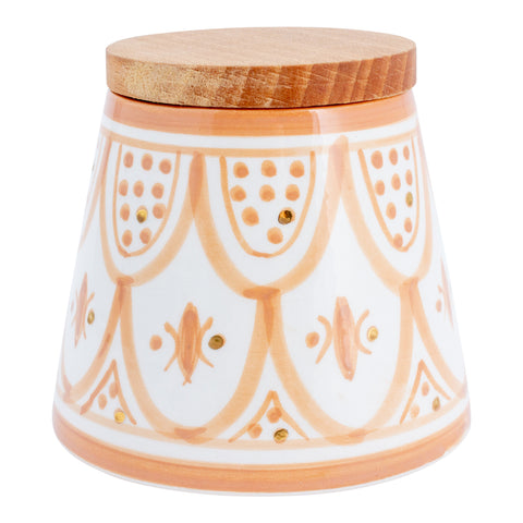 Handmade Nude Glazed Moroccan Ceramic Cone Box with 12K Gold Accents