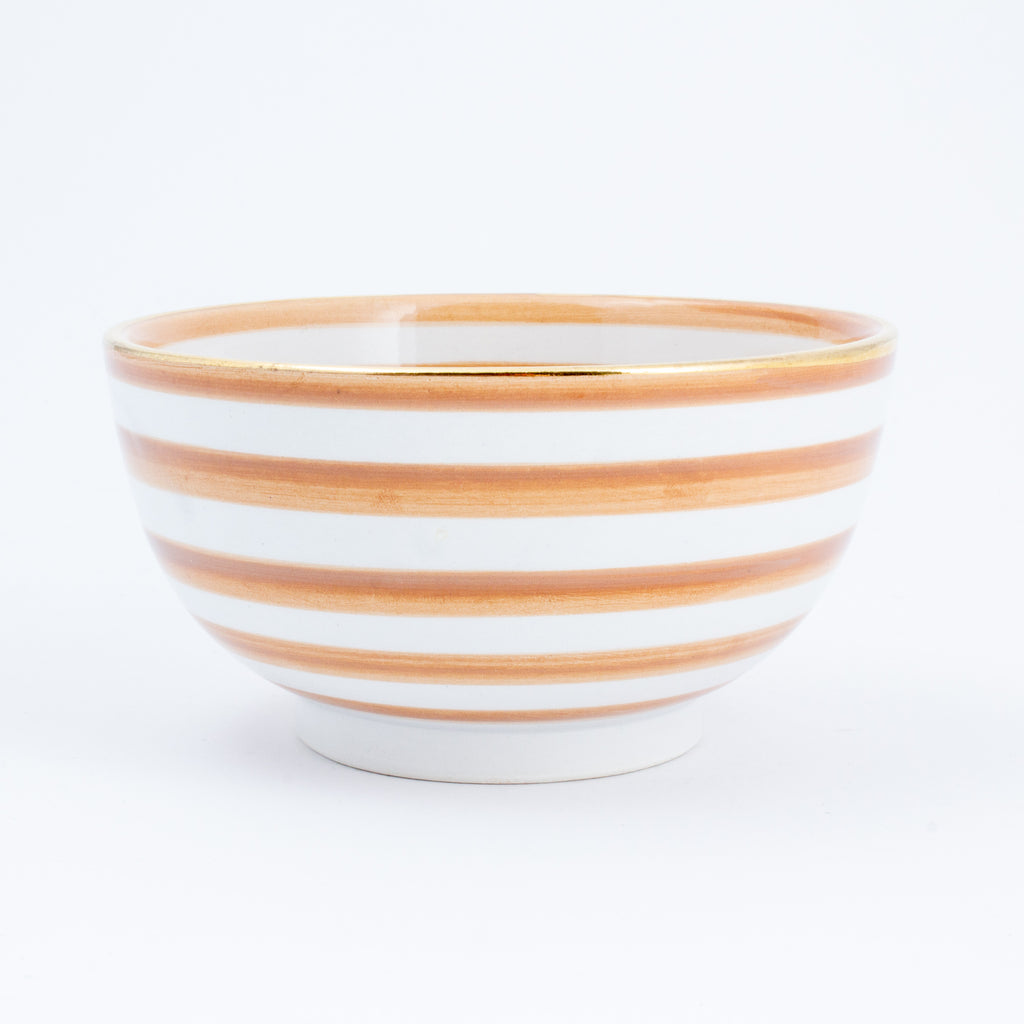 Handmade Nude Glazed Moroccan Bowl with 12K Gold Accents | Small