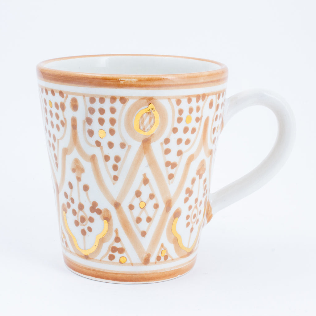 Handmade Nude Zwak Glazed Moroccan Handled Mug with 12K Gold